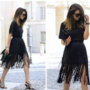 Zara Faux Suede Fringe Midi Skirt Black Medium
